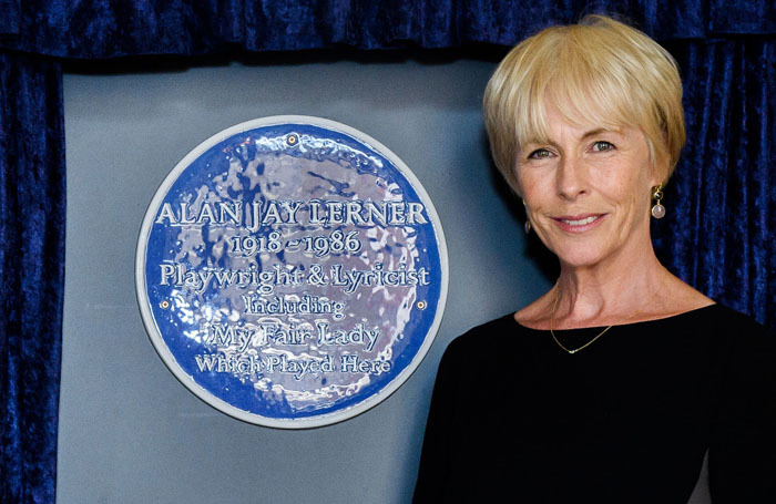 Liz Robertson unveils a plaque commemorating the life and work of Alan Jay Lerner at The Theatre Royal Drury Lane. Photo: Joanne Davidson