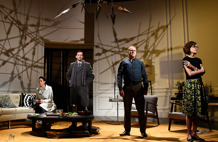 Amanda Abbington, Ralf Little, Nigel Lindsay and Elizabeth McGovern in God or Carnage at Bath Theatre Royal. Photo: Nobby Clark