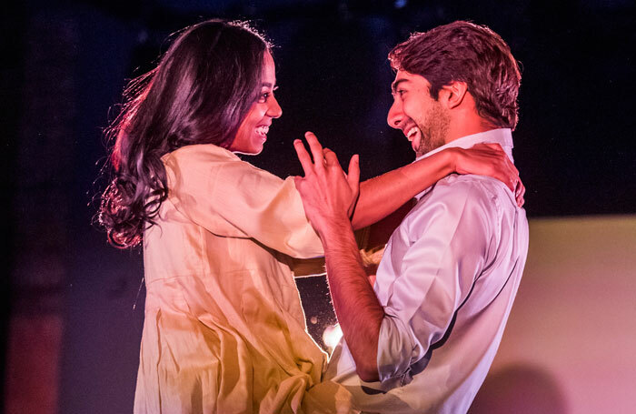 Anjana Vasan and Shubham Saraf in An Adventure at the Bush Theatre, London. Photo: Tristram Kenton