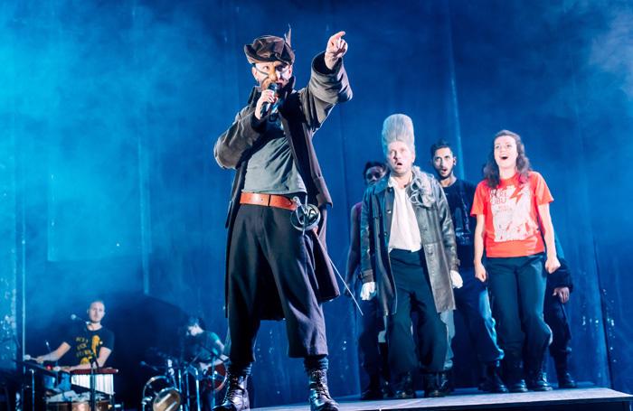 Brian Ferguson and the cast of Cyrano de Bergerac at Tramway, Glasgow. Photo: Mihaela Bodlovic