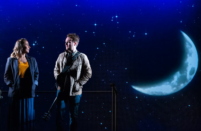 Emma Lucia and Daniel Healy in Once at the New Wolsey Theatre, Ipswich. Photo: Mike Kwasniak