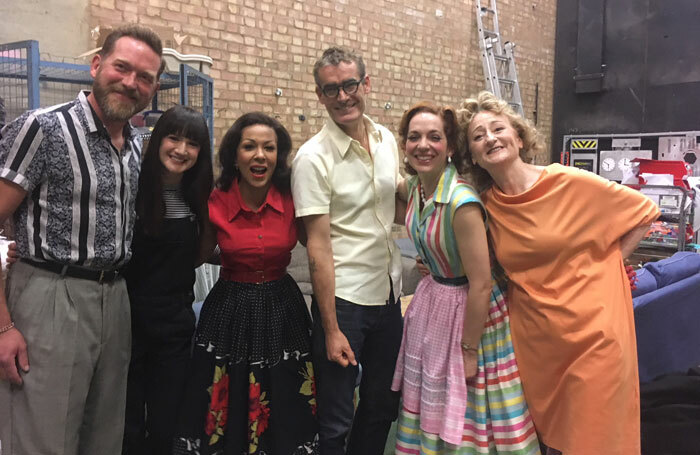 Rufus Norris (centre) with the cast of Home, I'm Darling at the National's Dorfman Theatre. Photo: Fran Miller