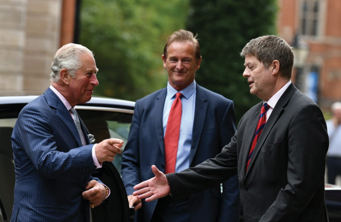 Prince Charles, security staff and the deputy of the lord lieutenant of London