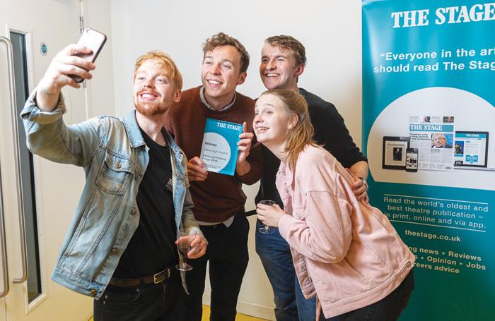 Timpson team with The Stage Edinburgh Award: Will Davis, Sam Cochrane, Chris Baker and Rachael Chomer. Photo: Roberto Ricciuti