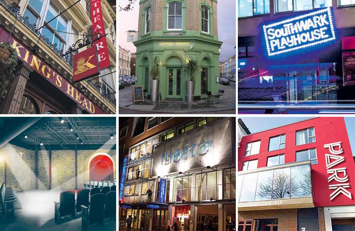 A selection of London fringe venues, clockwise from top left: the King's Head, Finborough, Southwark Playhouse, Park Theatre, Soho Theatre and the Union Theatre. Photos: Simon J Webb/Matthew Turner/Safavi PR