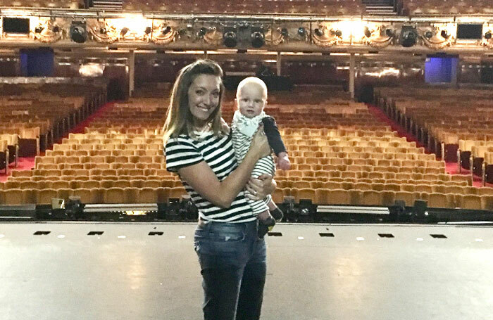 Charlene Ford with her son, Jenson. The actor has returned to 42nd Street in the West End's first job share