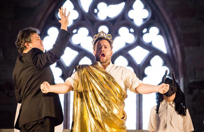 David Stout and Ben Johnson in Scottish Opera's The Burning Fiery Furnace. Photo: Sally Jubb