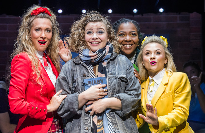 Jodie Steele, Carrie Hope Fletcher, T'Shan Williams and Sophie Isaacs in Heathers the Musical at Theatre Royal Haymarket. Photo: Tristram Kenton