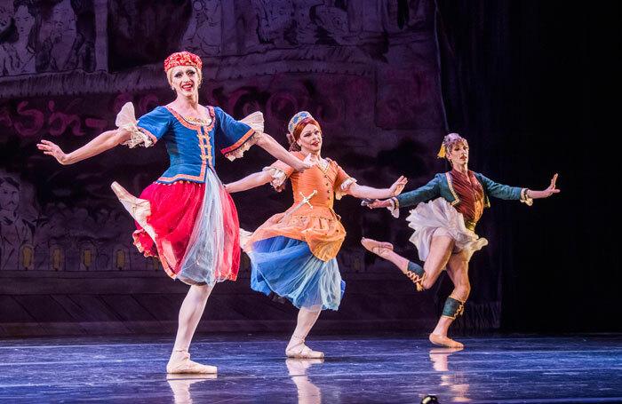 Les Ballets Trockadero de Monte Carlo's Joshua Thake, Jack Furlong Jr and Kevin Garcia at the Peacock Theatre, London. Photo: Tristram Kenton