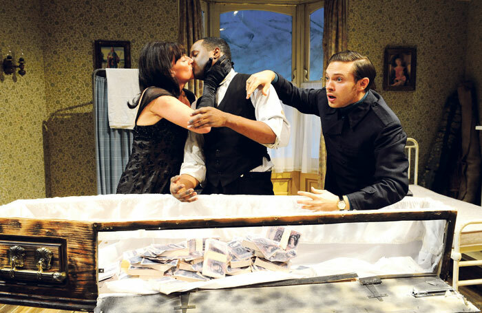 Doon Mackichan, Javone Prince and Matt Di Angelo in Loot at London's Tricycle Theatre in 2008. Photo: Tristram Kenton