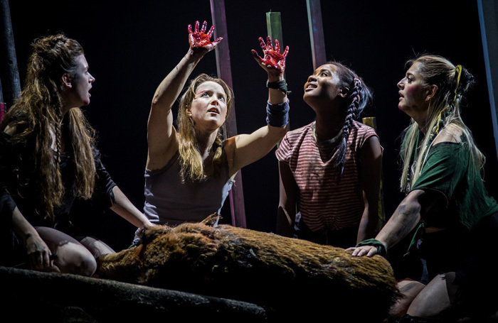 The cast of Lord of the Flies at Theatr Clwyd. Photo: Sam Taylor