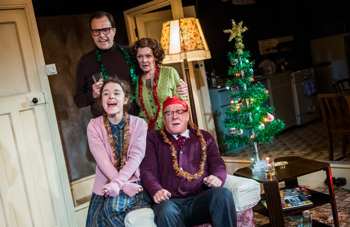 The cast of Pack of Lies at Menier Chocolate Factory, London. Photo: Tristram Kenton