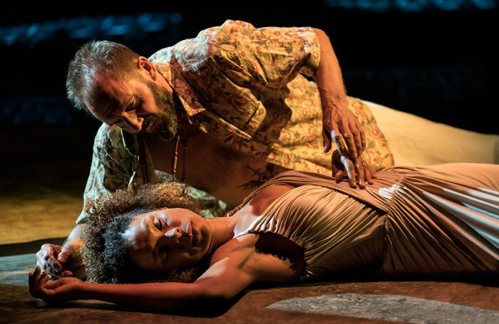 Ralph Fiennes and Sophie Okonedo in Antony and Cleopatra at the National Theatre, London. Photo: Johan Persson