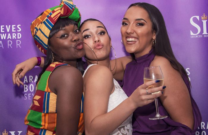 Cast members Alexia McIntosh and Maiya Quansah-Breed with Grace Mouat (swing and dance captain) at the after-show party for Six. Photo: Irina Chira