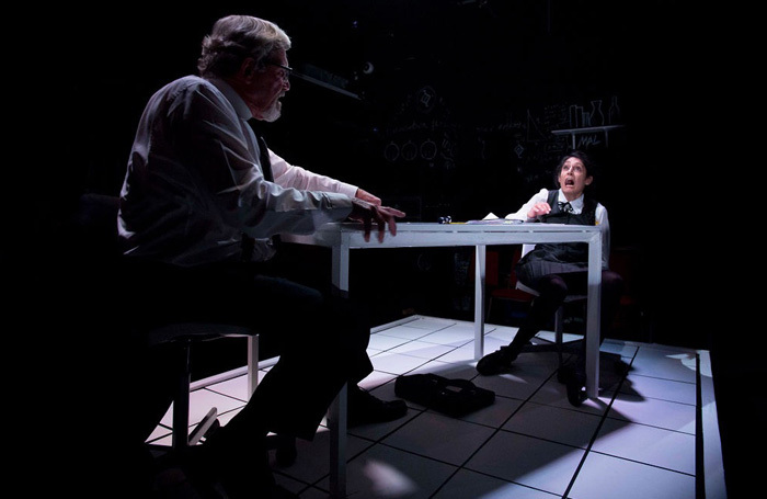 Roger Alborough and Sheetal Kapoor in The Lesson at Hope Theatre, London.  Photo: LH Photography