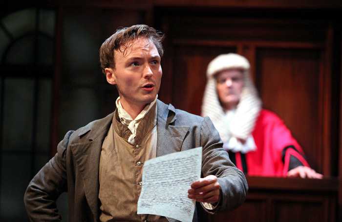 Joseph Prowen and Nicholas Murchie in Trial by Laughter at Watermill Theatre, Newbury. Photo: Philip Tull