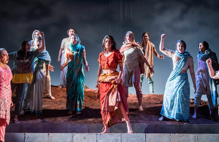 Anya Chalotra (centre) in The Village at Theatre Royal Stratford East. Photo: Tristram Kenton