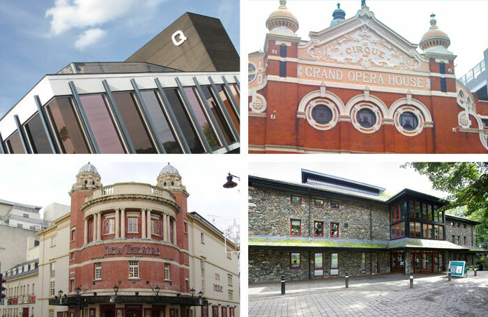 Regional winners of the UK's Most Welcoming Theatre Award 2018 (clockwise from top left): Queen's Theatre Hornchurch; Grand Opera House, Belfast; Theatre by the Lake, Keswick; New Theatre, Cardiff