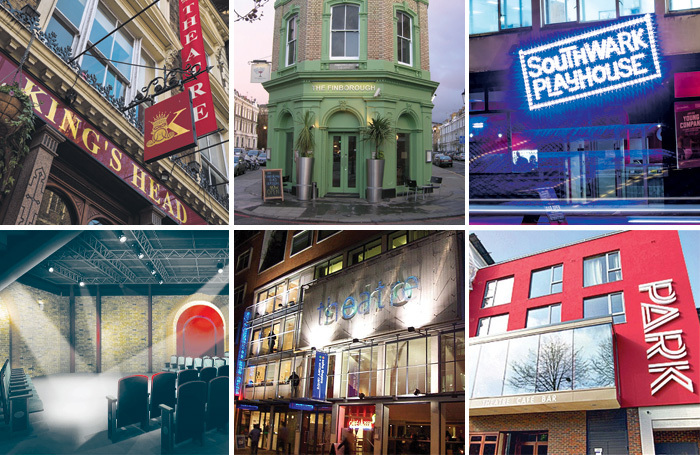 A selection of London fringe venues, clockwise from top left: the King's Head, Finborough, Southwark Playhouse, Park Theatre, Soho Theatre and the Union Theatre. Photos: Simon J Webb/Matthew Turner/Safavi PR