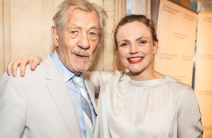 Award presenter Ian McKellen with winner, actor Maxine Peake at the UK Theatre Awards, Photo: Pamela Raith