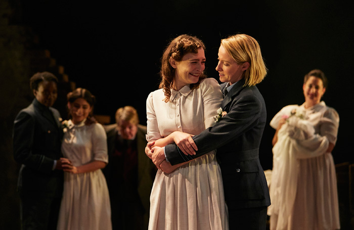 Emily Tucker and Anna O'Grady in Much Ado About Nothing at Watford Palace Theatre. Photo: Richard Lakos