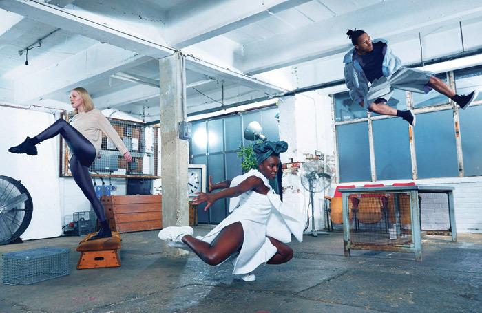 Dancers Hannah Burfield, Nandi Bhebhe and Joshua Nash, who perform in Reckonings, individual pieces choreographed by Botis Seva, Julie Cunningham and Alesandra Seutin. Photo: Manuel Vason
