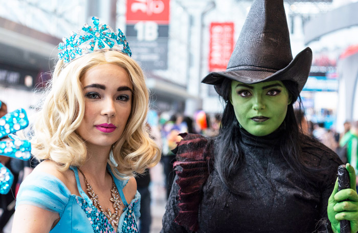Actors dressed as Elphaba and Galinda from Wicked at Comic Con 2018. Photo: Howard Sherman
