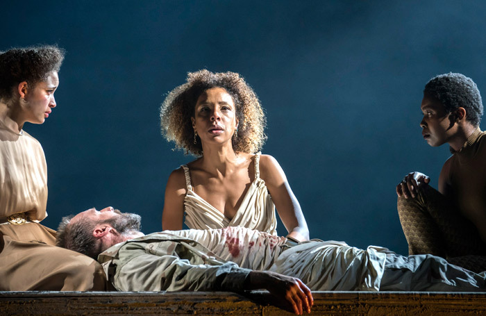 Georgia Landers, Ralph Fiennes, Sophie Okonedo and Gloria Obianyo in Antony and Cleopatra. Photo: Johan Persson