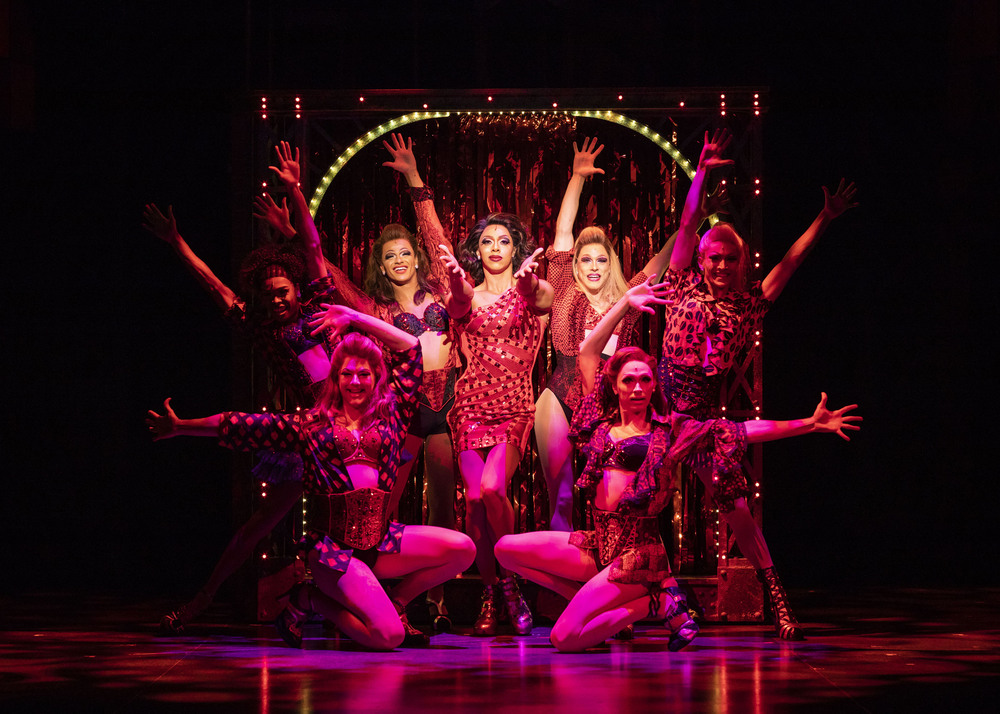 The cast of Kinky Boots at Royal and Derngate, Northampton. Photo: Helen Maybanks
