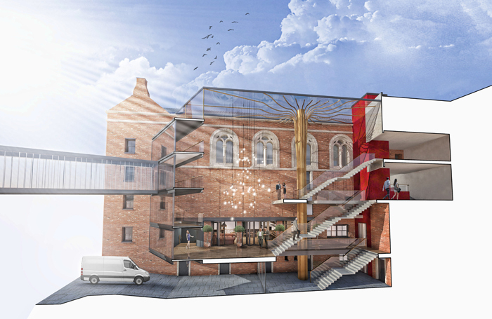 Opera North Capital Redevelopment 2018 – an artist's impression of the new atrium and Howard Assembly Room entrance