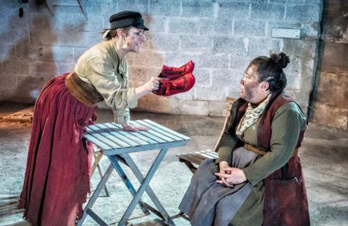 Pauline McLynn and Bea Webster in Red Ladder's Mother Courage and Her Children. Photo: Anthony Robling