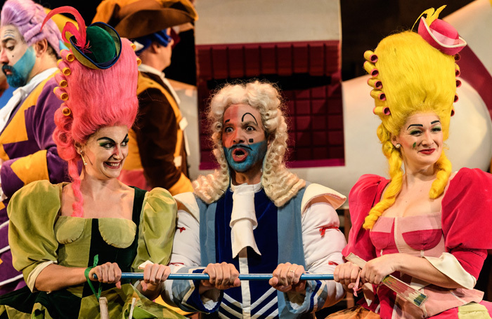 Aoife Miskelly, Giorgio Caoduro and Heather Lowe in the Welsh National Opera production of La Cenerentola. Photo: Jane Hobson