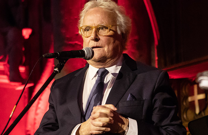 Richard Eyre speaking at this year's UK Theatre Awards about the difficulties faced by regional theatre. Photo: Pamela Raith