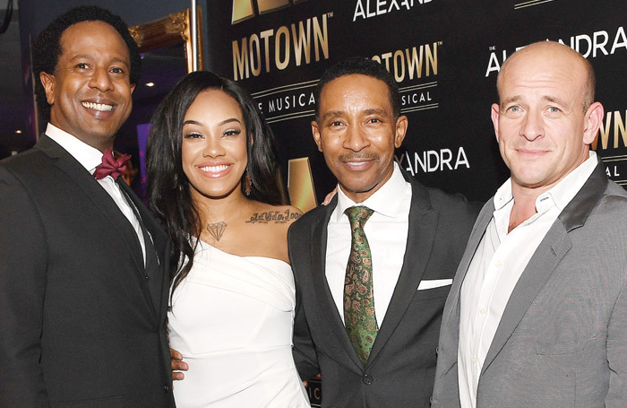 Cast members Edward Baruwa and Karis Anderson with  director Charles Randolph Wright and producer Adam Spiegel  at the Motown gala in Birmingham. Photo: Sam Bagnall