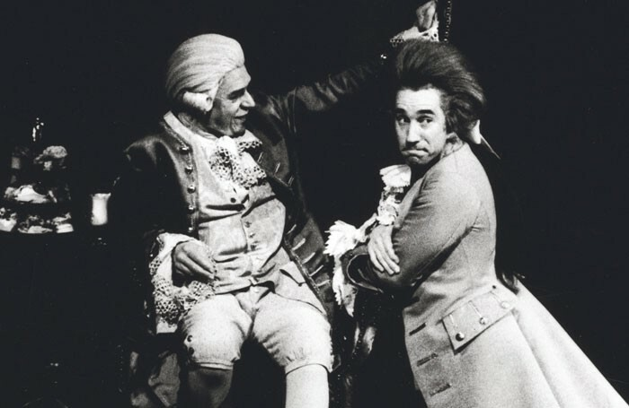 Paul Scofield and Simon Callow in Amadeus at the National Theatre in 1979. Photo: Nobby Clark