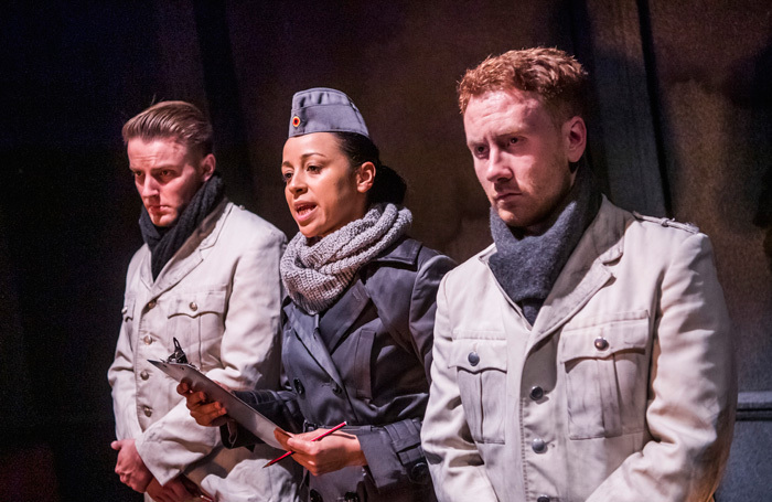 Luke Dale, Natalie Winsor and Liam Harkins in Bury The Dead at Finborough Theatre, London. Photo: Tristram Kenton