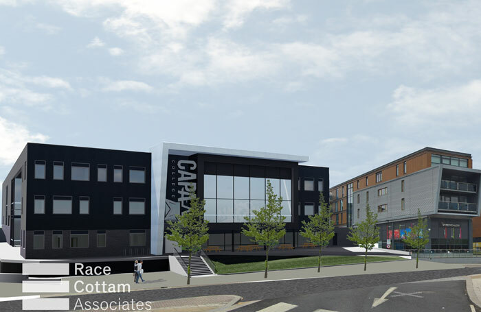 Artist's impression of the entrance view to the proposed CAPA College building