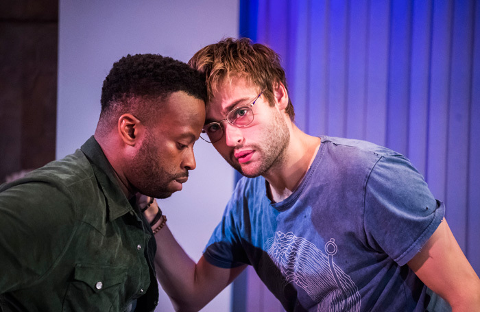 Clifford Samuel and Douglas Booth in A Guide for the Homesick at Trafalgar Studios, London. Photo: Tristram Kenton