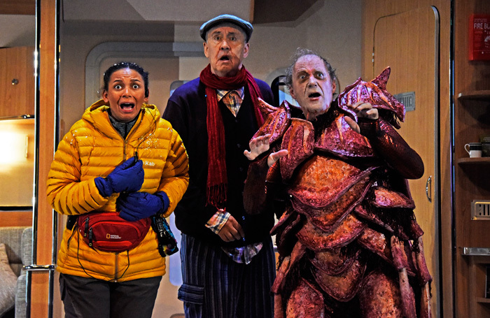 Lois Chimimba, Nigel Planer and Adrian Edmondson in Vulcan 7. Photo: Nobby Clark