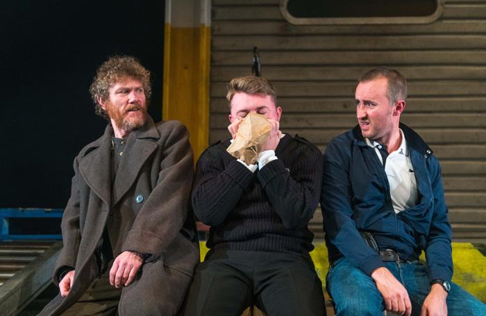 Michael Moreland, Ross Baxter and Ewan Donald in Gagarin Way at Dundee Rep. Photo: Tommy Ga-Ken Wan.
