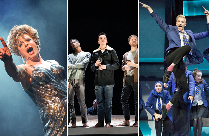 John Barrowman in La Cage Aux Folles, the cast of The Inheritance and John McCrea in Everybody's Talking About Jamie. Photos: Tristram Kenton/Marc Brenner/Alastair Muir