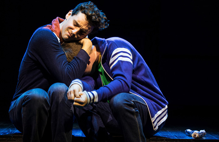 Michael Urie and Jack DiFalco in Torch Song at Helen Hayes Theatre, New York. Photo: Matthew Murphy