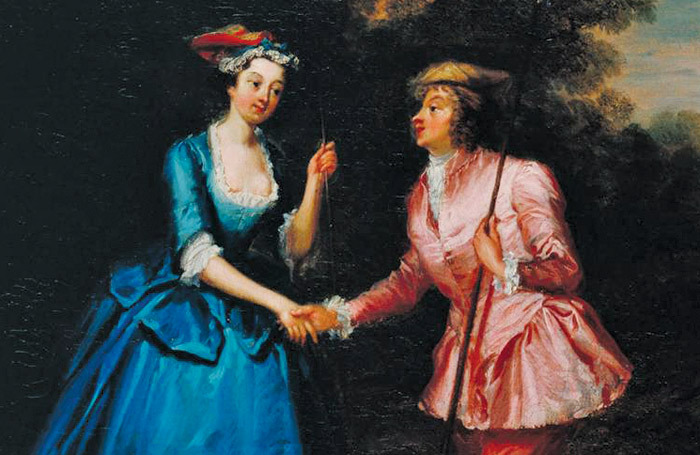 A painted scene from Colley Cibber's Damon and Phillida in the Tate Gallery. Charke plays the lead male character, right