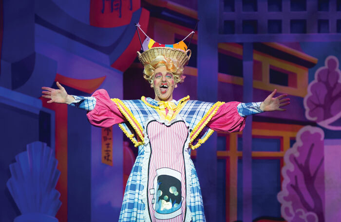 Alan McHugh as the dame in Aladdin at  His Majesty's Theatre, Aberdeen in 2017