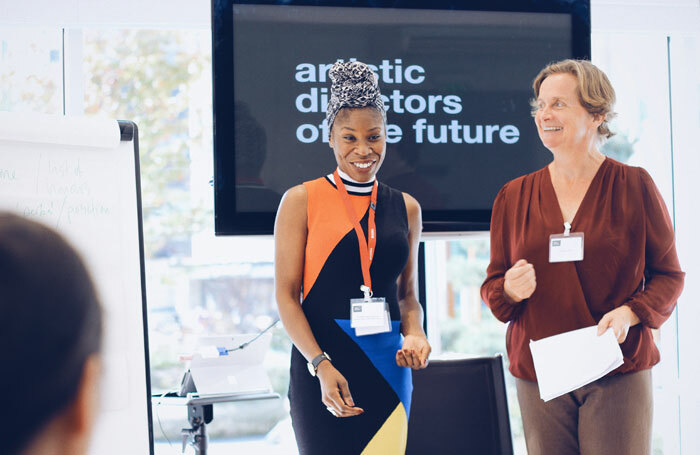 Artistic Directors of the Future founder Simeilia Hodge-Dallaway with the Independent Theatre Council's Charlotte Jones at ADF's Diversifying Regional Theatre Boards event in 2017. Photo: Thomas Husbands