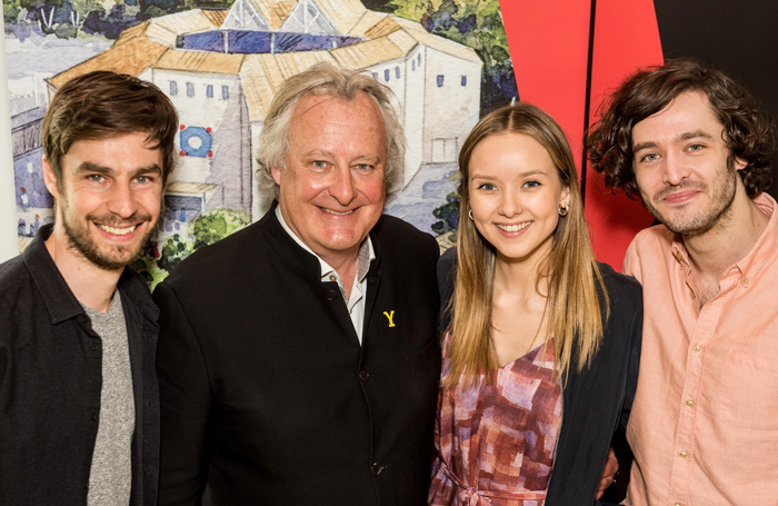 Cast members Dyfan Dwyfor, Alexandra Dowling and Alexander Vlahos with producer James Cundall of Lunchbox Theatrical productions, at the media launch for Shakespeare's Rose Theatre 2018