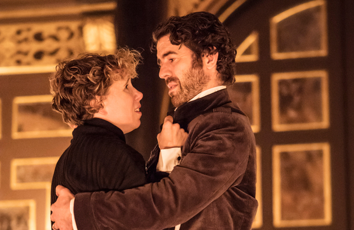 Michelle Terry and Paul Ready in Macbeth at the Sam Wanamaker Playhouse, London. Photo: Johan Persson