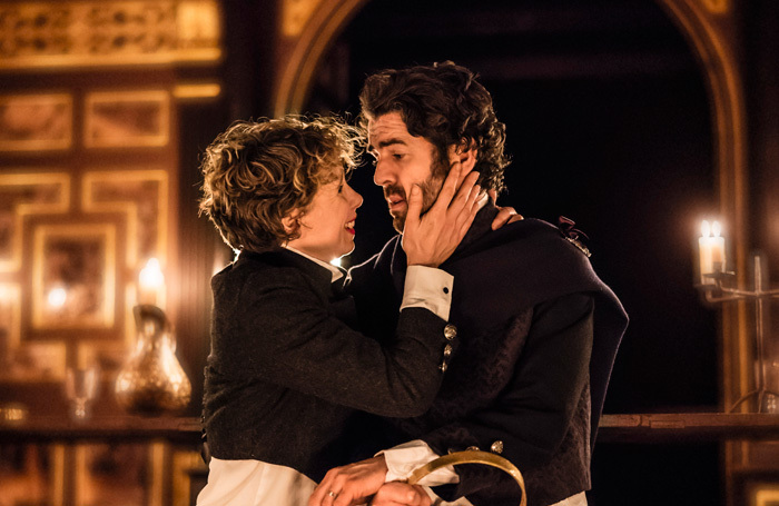Michelle Terry and Paul Ready in Macbeth at Sam Wanamaker Playhouse, London. Photo: Johan Persson