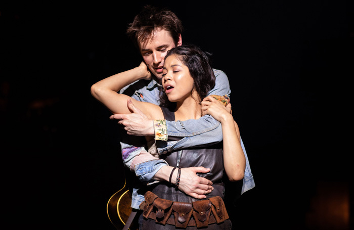 Reeve Carney and Eva Noblezada in Hadestown at National Theatre, London. Photo: Helen Maybanks