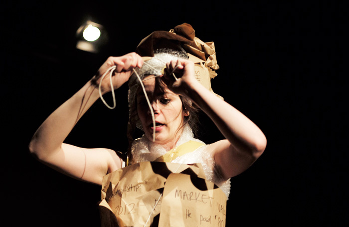 Haley McGee in The Ex-Boyfriend Yard Sale at Camden People's Theatre, London. Photo: Sophie Le Roux